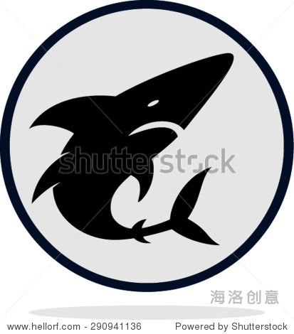 鲨鱼平图标矢量图