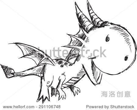 素描涂鸦龙矢量插图艺术 - 动物/野生生物,其它 - ,,.