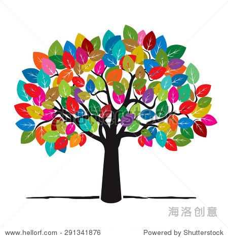 树和树叶的颜色.矢量插图.