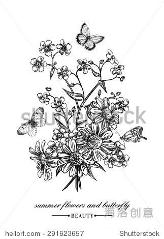 向量的卡片和一束鲜花和蝴蝶.勿忘我,雏菊.黑白插图.