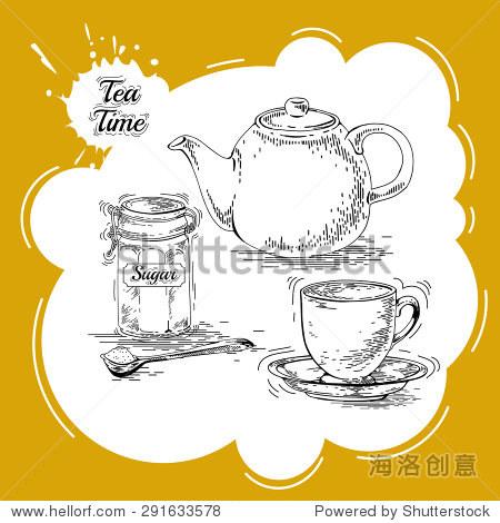 手绘茶具茶壶向量.古董茶海报.茶的矢量图形设计.老式