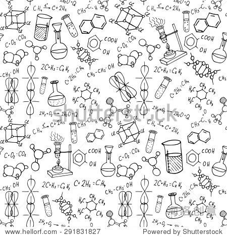化学手绘涂鸦背景.科学的矢量图
