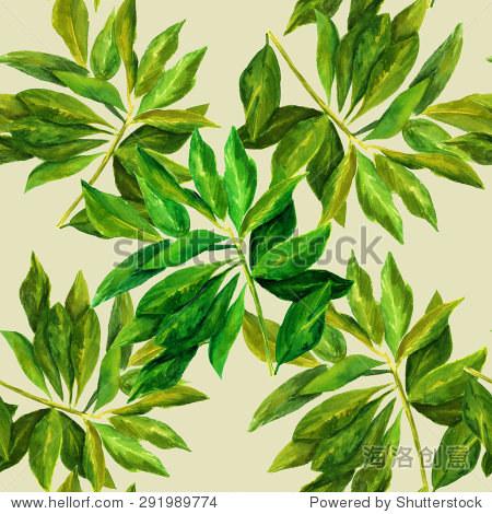 无缝水彩画模式与绿色的树叶树枝