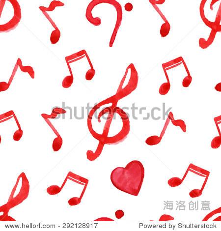 红色笔记高音低音谱号心音乐无缝模式