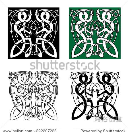 古代凯尔特人的动物饰品与扭曲的龙部落纹身或图腾动物设计风格