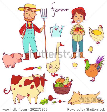 向量农民与可爱的动物.的职业