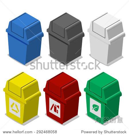 的等距垃圾桶标志在平面图标风格在许多颜色