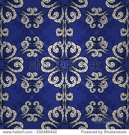 无缝壁纸图案复古风格在深蓝色的背景.