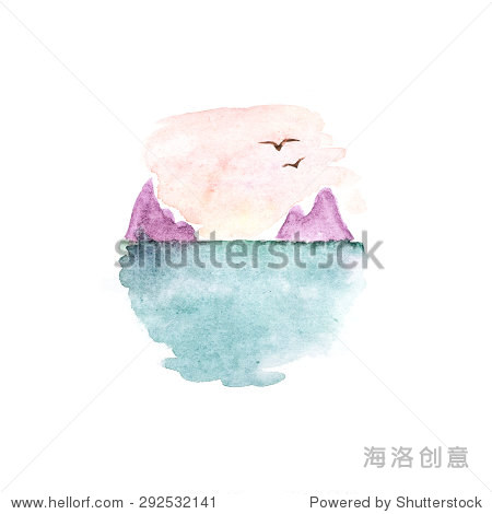 手绘日落水彩画在海洋孤立 - 背景/素材,自然 - 站酷