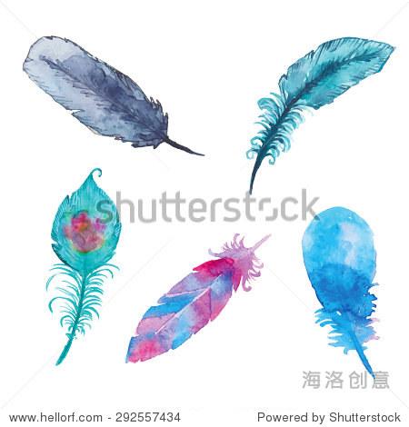 水彩的羽毛.手绘独特民族向量放荡不羁的元素.