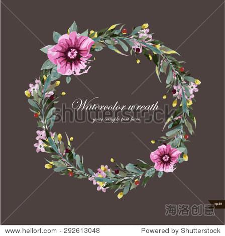 水彩花环用鲜花,树叶和树枝.矢量图