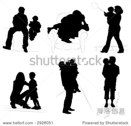 轮廓的父母与孩子,矢量插图