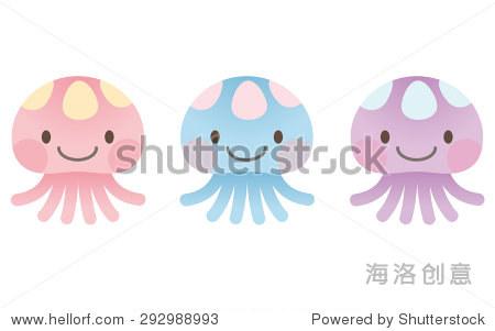 """可爱的人物的海洋""""3小水母"""""""