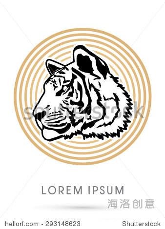 老虎的脸,头,侧面,在圆行背景,平面向量.