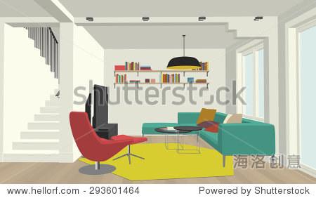 透视图的室内客厅