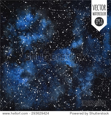 黑色水彩与蓝色污点手绘向量夜空的星星.飞溅的纹理.
