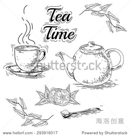 手绘茶具茶壶.古董茶海报.茶的图形设计.老式的小册子