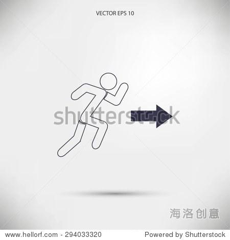 跑步者箭头图标矢量图和方向 - 科技,符号/标志 - ,,.