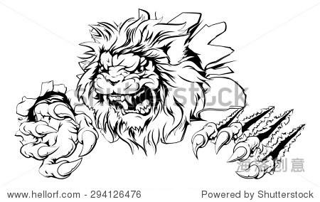 攻击狮子的爪子突破画狮子撕裂的背景-动物/野生生物