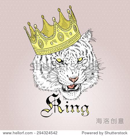 手绘时装老虎的画像在皇冠,t恤的设计 - 动物/野生