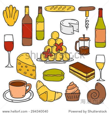 卡通可爱的手绘图标法国美食主题:奶酪,葡萄酒,蛋白杏仁饼干,criossan
