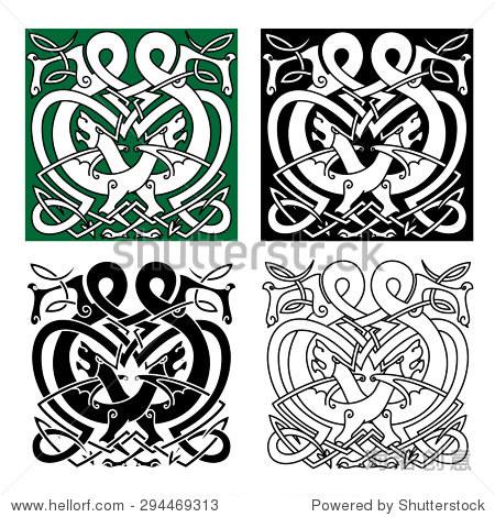 神秘的图腾动物与龙战斗,凯尔特饰品装饰由部落元素和