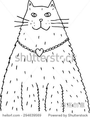 猫脑.黑白手绘插画.