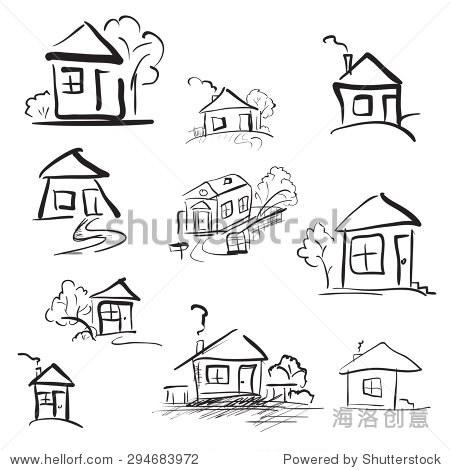 手绘涂鸦的房子.铅笔素描向量