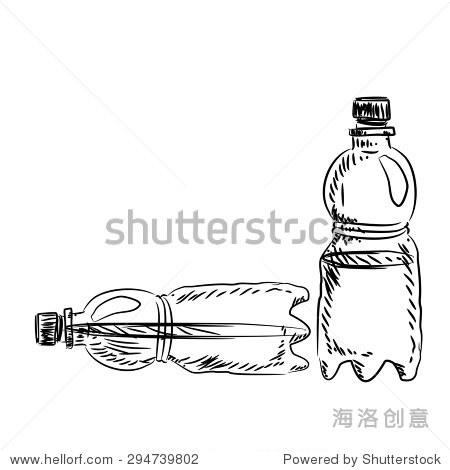 向量素描塑料瓶的水