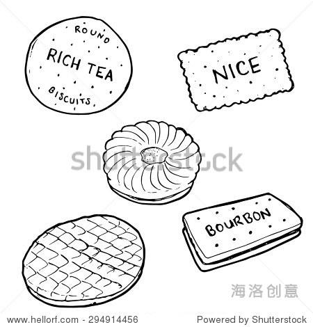 黑白插图手绘饼干——草图轮廓