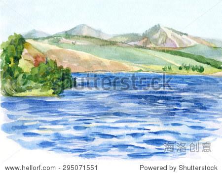 夏天水彩風景.海濱,山區草地和樹林.