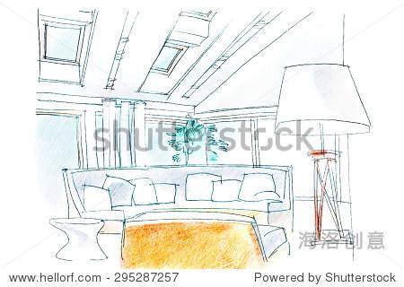 现代客厅的手绘室内透视 - 建筑物/地标,编辑 - 站酷