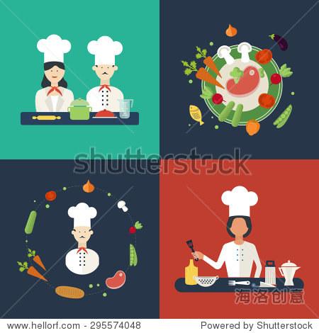 平面设计理念图标厨师的厨房用具.烹饪工具和厨具设备