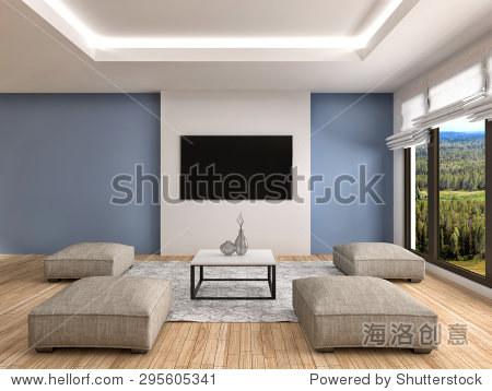 室内设计现代蓝色客厅.三维演示