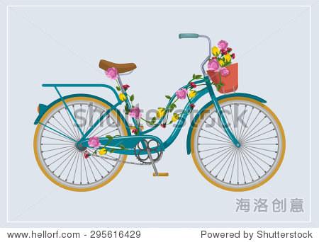 自行车用鲜花.矢量平面插图