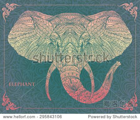 民族图案的大象在枯燥乏味的背景/非洲/印度/图腾纹身