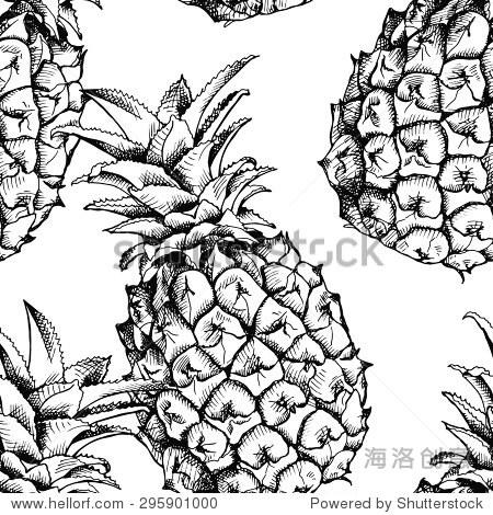无缝模式与菠萝水果的形象.向量黑白插图.-背景/素材