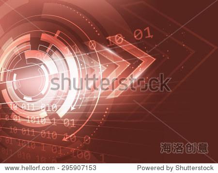 摘要向量背景,电路板和用红色箭头