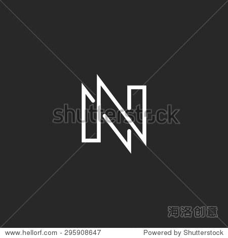 modern monogram letter n logo black and white business card nn