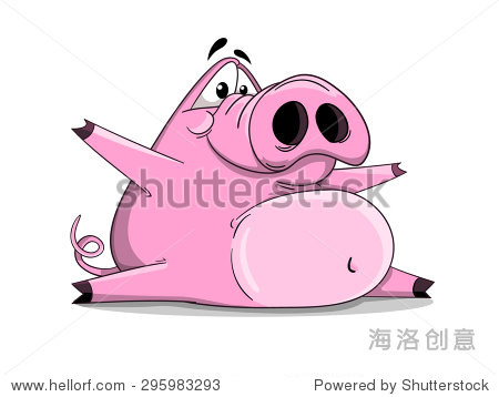 cute cartoon vector silly pig in the splits