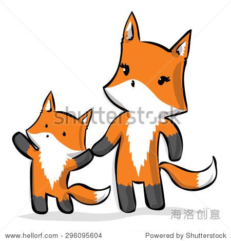 狐狸妈妈和小狐狸.手绘卡通矢量插图.
