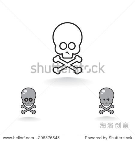 卡通头骨和骨头矢量图标
