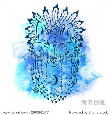 狼在战争中阀盖,手绘动物插图,印第安人的海报,t恤设计