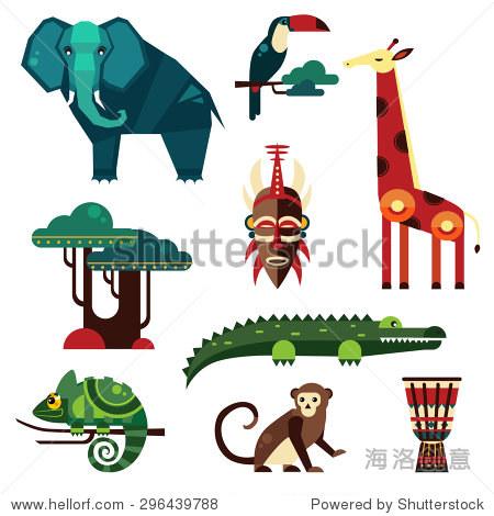 几何平面的非洲动物和植物向量