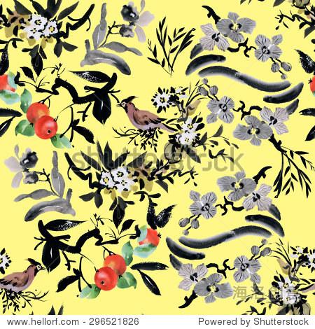 用鲜花果树苹果和鸟类水彩无缝模式在黄色背景矢量图