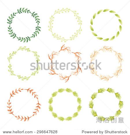 组水彩花环.手画树枝,树叶花瓣装饰元素为设计模板,邀请.