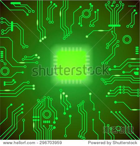 电路板绿色的向量的背景.主板处理器和芯片,cpu电脑设计矢量图