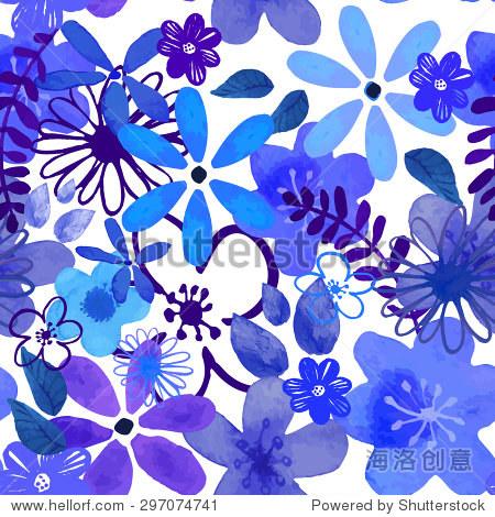 抽象的无缝水彩手绘背景.孤立的蓝色花朵和树叶.矢量插图.