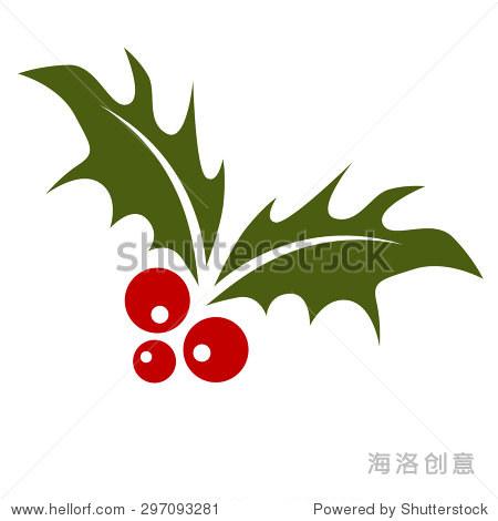 冬青叶子和红色浆果的形象.