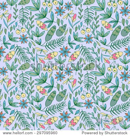 涂鸦的颜色背景.手画树叶,松果和鲜花无缝模式,向量森林元素.